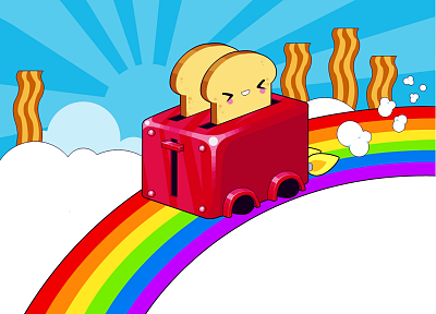 clouds, bacon, toaster, rainbows - related desktop wallpaper