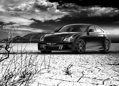 clouds, cars, rockets, monochrome, greyscale, Mercedes-Benz - related desktop wallpaper