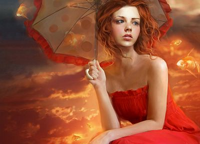 women, orange, redheads, fish, surreal, goldfish, fantasy art, red dress, artwork, umbrellas, Marta Dahlig - related desktop wallpaper