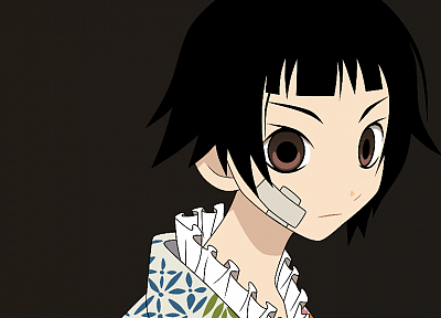 Sayonara Zetsubou Sensei, brown eyes, kimono, short hair, anime, bandaids, Japanese clothes, simple background, faces, brown background, bangs, black hair, Tsunetsuki Matoi - related desktop wallpaper