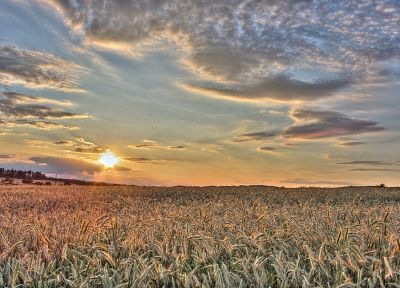 sunset, sunrise, clouds, landscapes, nature, Czech, fields, scenic, Czech Republic, HDR photography - desktop wallpaper