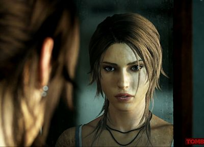 brunettes, women, mirrors, Tomb Raider, Lara Croft - random desktop wallpaper