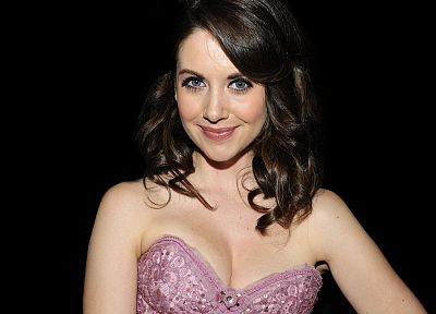 brunettes, women, blue eyes, smiling, Alison Brie, pink dress, black background, black hair - random desktop wallpaper