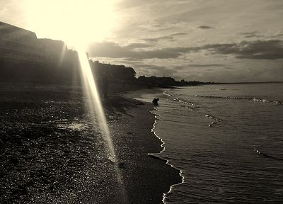 Sun, monochrome, skyscapes, greyscale, sea, beaches - random desktop wallpaper