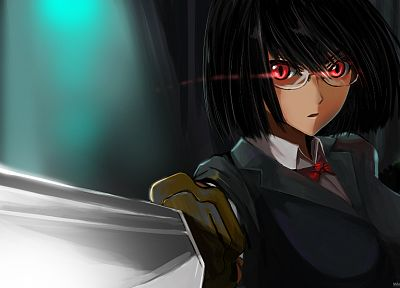 glasses, weapons, red eyes, Durarara!!, Sonohara Anri, meganekko, anime girls, swords, black hair - random desktop wallpaper