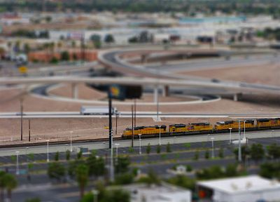 trains, railroad tracks, tilt-shift, vehicles - random desktop wallpaper