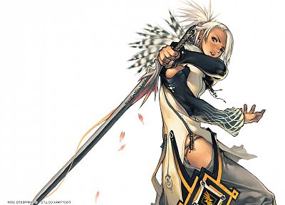 Magna Carta, Hyung-tae Kim, anime, white hair, simple background, swords - desktop wallpaper
