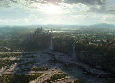 Star Wars, Naboo, artwork, waterfalls - desktop wallpaper