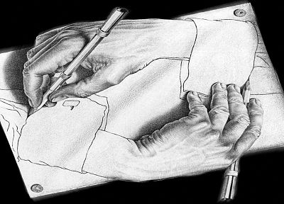 hands, drawings, optical illusion - random desktop wallpaper