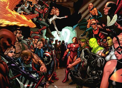 Iron Man, Spider-Man, Captain America, Daredevil, She Hulk, Invisible Woman, Marvel Comics, Mr. Fantastic, Civil War, Marvel - related desktop wallpaper