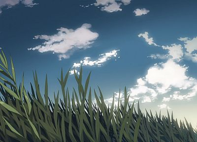 grass, animated, Makoto Shinkai, 5 Centimeters Per Second, drawn, skyscapes - related desktop wallpaper