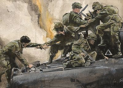 soldiers, paintings, war - related desktop wallpaper