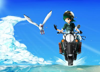 clouds, gloves, Kino no Tabi, green eyes, goggles, short hair, green hair, drawings, anime girls - desktop wallpaper