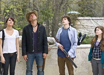 jeans, actress, shotguns, Emma Stone, Zombieland, actors, Abigail Breslin, Jesse Eisenberg, Woody Harrelson - desktop wallpaper
