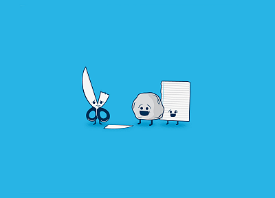 paper, minimalistic, scissors, rocks, funny, blue background - desktop wallpaper