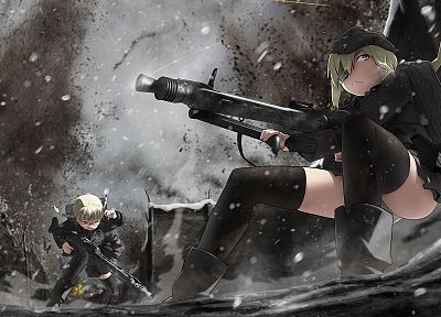 soldiers, military, soft shading, anime girls, original characters - desktop wallpaper