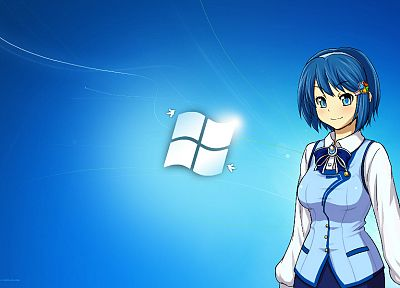 blue, Windows 7, blue eyes, school uniforms, blue hair, Madobe Nanami, Microsoft Windows, anime, OS-tan, anime girls - related desktop wallpaper