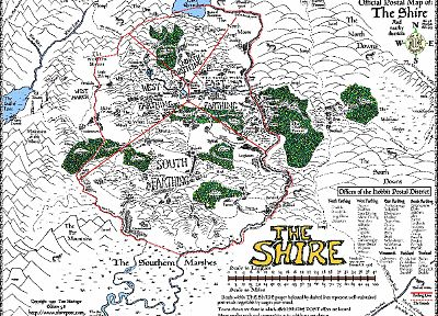 The Lord of the Rings, maps, Middle-earth, The Shire - related desktop wallpaper