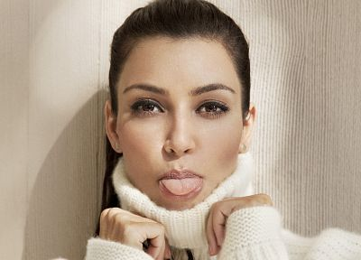 brunettes, women, Kim Kardashian, tongue, faces - desktop wallpaper