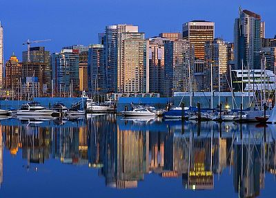 skylines, downtown, Vancouver, British Columbia, harbours - related desktop wallpaper