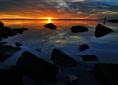 sunset, landscapes, nature, rocks, DeviantART, reflections - desktop wallpaper