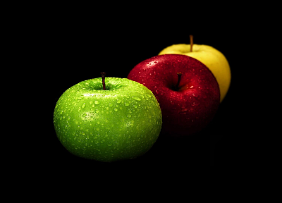 fruits, food, apples, black background - random desktop wallpaper