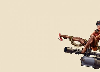 tattoos, stockings, Soviet, weapons, high heels, Team Fortress 2, sitting, simple background, Pin Up Girls - random desktop wallpaper