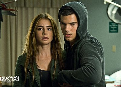 hoodies, Lily Collins, Abduction, Taylor Lautner - desktop wallpaper