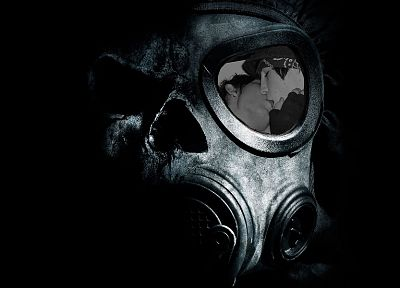 skulls, black, kissing, gas masks, photo manipulation, queers - random desktop wallpaper