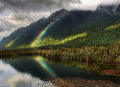 mountains, clouds, nature, forests, rainbows - desktop wallpaper