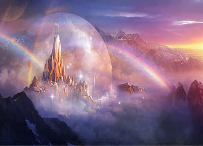landscapes, castles, fantasy art, rainbows, Philip Straub - desktop wallpaper