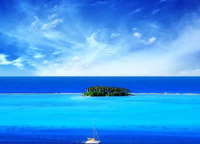 blue, ocean, clouds, landscapes, nature, ships, islands, skyscapes - related desktop wallpaper
