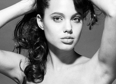 Angelina Jolie, monochrome, greyscale - related desktop wallpaper
