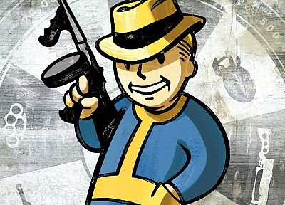 Fallout, tommy gun, drawn - desktop wallpaper