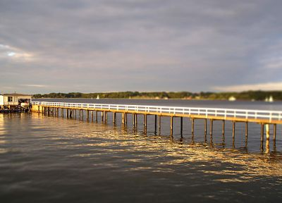 water, landscapes, Sun, cityscapes, Germany, piers, tilt-shift - desktop wallpaper