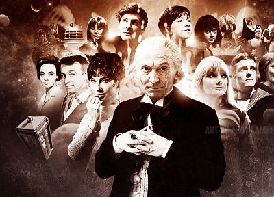 TARDIS, sepia, Doctor Who, William Hartnell, First Doctor - desktop wallpaper