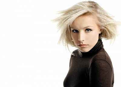 women, Kristen Bell, actress, celebrity, simple background - related desktop wallpaper