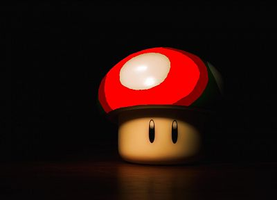video games, red, Mario, mushrooms, black background - related desktop wallpaper
