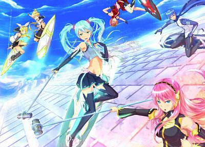 Vocaloid, Hatsune Miku, Megurine Luka, Kaito (Vocaloid), Kagamine Rin, Kagamine Len, Meiko, detached sleeves - related desktop wallpaper