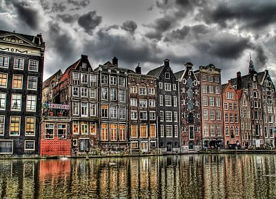 clouds, buildings, Europe, dam, Holland, Amsterdam, HDR photography, rivers, reflections - desktop wallpaper