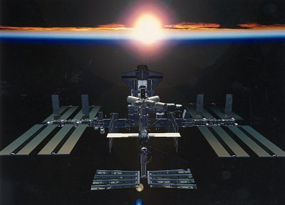 sunrise, outer space, Earth, Space Shuttle, International Space Station - related desktop wallpaper