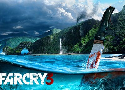 water, video games, ocean, knives, Far Cry, Far Cry 3 - random desktop wallpaper