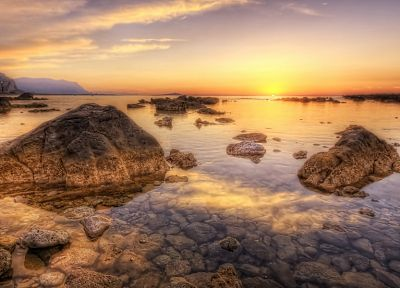 sunset, ocean, landscapes, nature, coast, rocks, sea - related desktop wallpaper