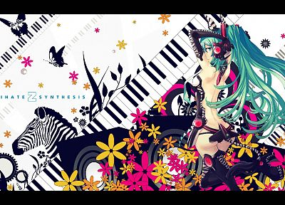 women, tails, Vocaloid, gloves, flowers, Hatsune Miku, keyboards, long hair, green eyes, high heels, zebras, green hair, twintails, Miku Append, Vocaloid Append - related desktop wallpaper