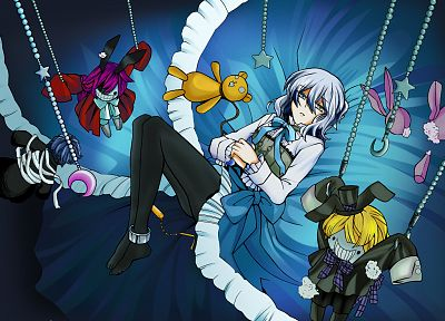 blue, Pandora Hearts, anime, dolls, chains, Echo (Pandora Hearts), anime girls - related desktop wallpaper