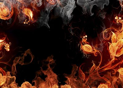 abstract, fire, black background - random desktop wallpaper