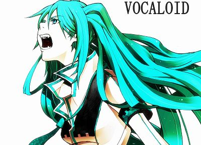 Vocaloid, Hatsune Miku, tie, long hair, twintails, teeth, open mouth, fangs, aqua eyes, aqua hair, simple background - random desktop wallpaper