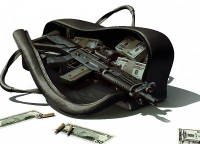 rifles, guns, money, weapons, gangster - related desktop wallpaper