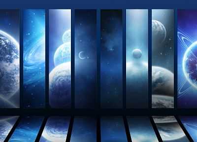 outer space, mirrors, planets - random desktop wallpaper