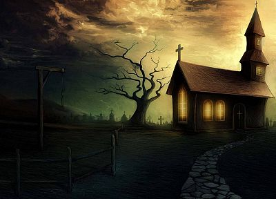 dark, churches, graveyards, artwork, Gallows - random desktop wallpaper